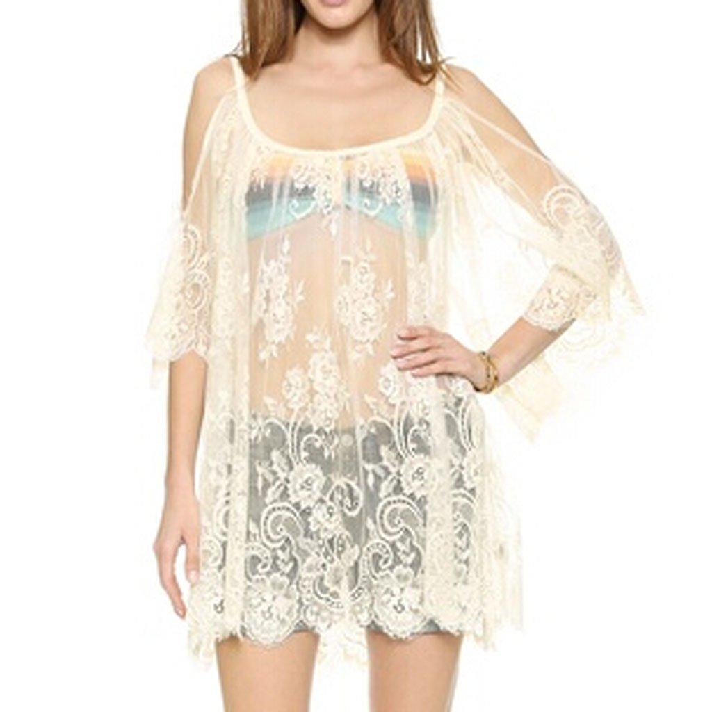 GRACIN Women's Casual Swimsuit Cover Up Floral Lace Boho Hippie Mini Dress (White)