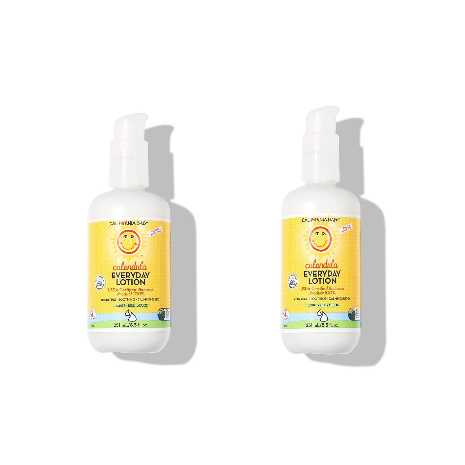 California Baby Calendula Everyday Lotion (8.5 Ounces) Moisturizer for Dry, Sensitive Skin | Post Bath and Diaper Changing | Non-Greasy, Fast-Absorbing Formula | 2 pack by California Baby