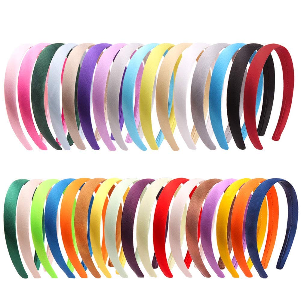10 pcs assorted color satin covered plastic headbands 20mm satin headband