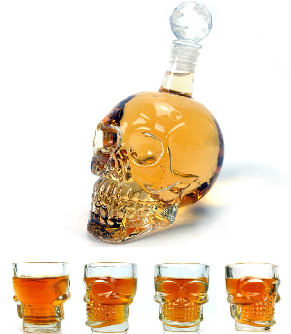 Wine Decanter Set Skull Carafe with Stopper, Set of 5 (1 Large Skull Face Decanter with 4 Skull Shot Glasses) Great Whiskey, Scotch and Vodka Shot Glass Set Best Whisky Beer Wine Drinking Ware