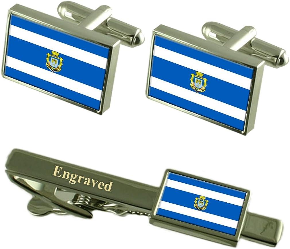 Kherson City Ukraine Flag Cufflinks Engraved Tie Clip Set