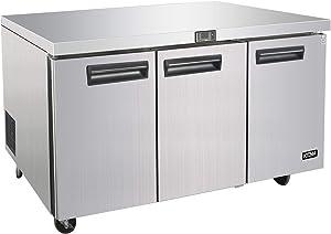 Commercial 72'' Undercounter Refrigerator - KITMA 21 Cu. Ft 3 Door Worktop Fridge with Shelves for Kitchen Restaurant, 33°F-38°F