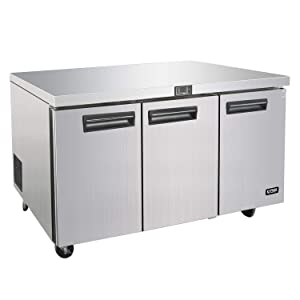 Commercial 72 Inches Undercounter Refrigerators - KITMA 21 Cu. Ft 3 Door Worktop Fridge with Shelves for Kitchen Restaurant, 33°F-38°F