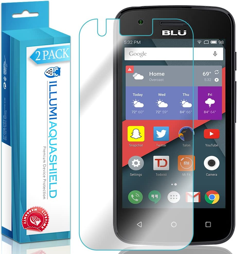 ILLUMI AquaShield Screen Protector Compatible with BLU Dash L2 (2-Pack) No-Bubble High Definition Clear Flexible TPU Film