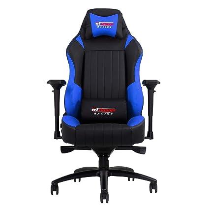 GT Omega Racing EVO XL - Silla de Oficina, Deportiva, Cuero Negro y Azul