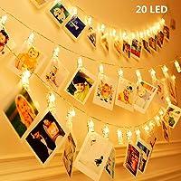 KNONEW 20 LED Photo Clip cuerda luces- 2,4 Metros LED luces para decoración Foto colgante, notas, obras de arte (blanco cálido)