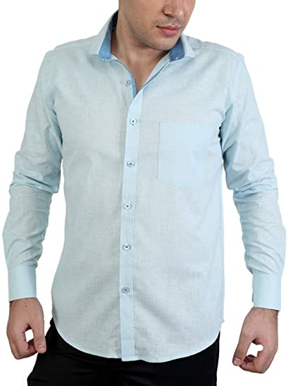 ef01715d3dbcf Zeal 100% Cotton Light Sky Blue-Dark Sky Casual-Formal Shirt  Amazon.in   Clothing   Accessories