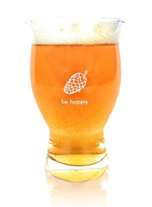 Ultimate Pint - Perfect Pint Glass to Explode Flavors and Maximize Beer Enjoyment - Exclusive Nucleated Hop Leaf Over 100 Points of Nucleation