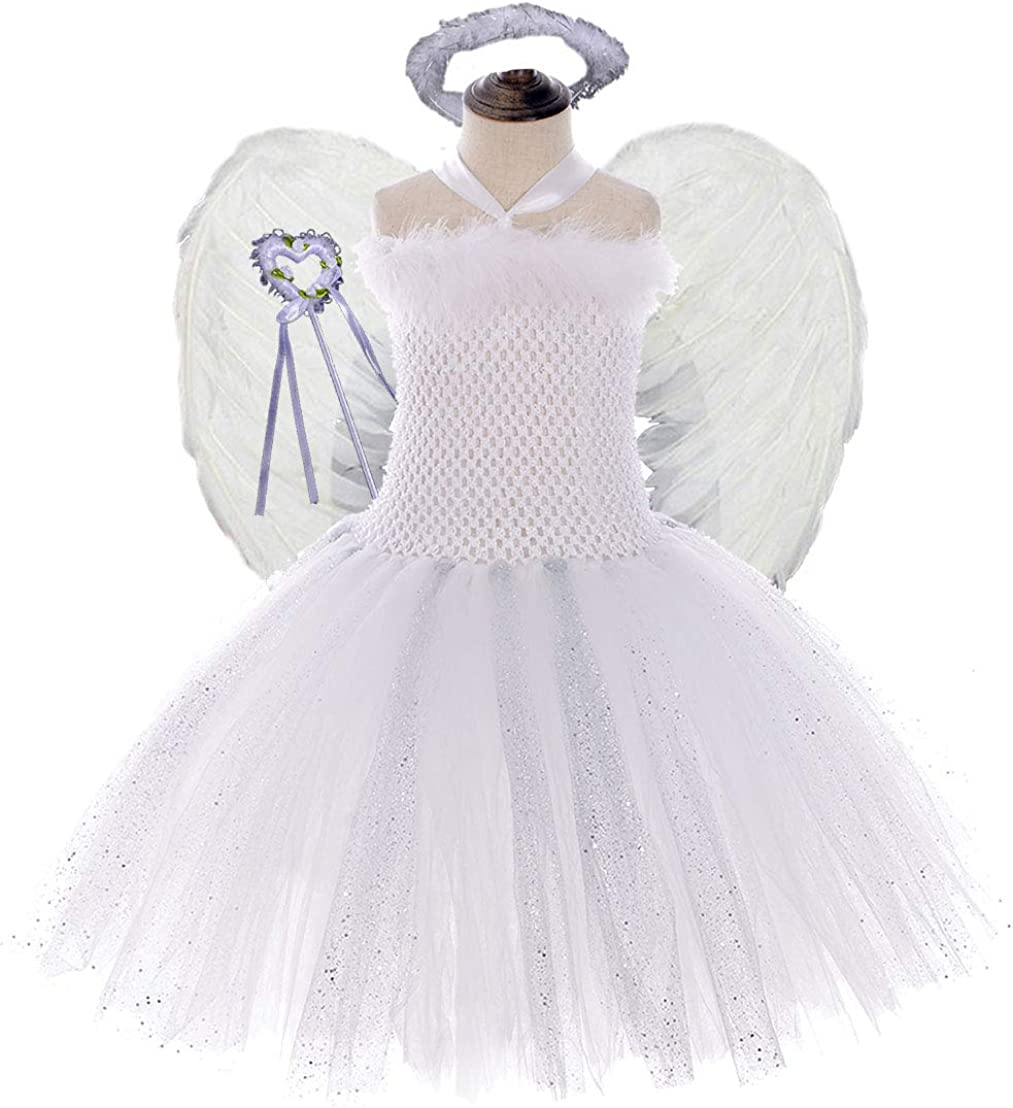 Tutu Dreams 4PCS Angel Costumes for Girls 2-10Y Birthday Outfit Halloween Party