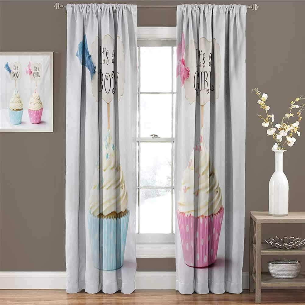 Gender Reveal Room Darkened Curtain Boy and Girl with Cupcakes Yummy Chocolate Celebration Theme Insulated Room Bedroom Darkened Curtains W54 x L84 Inch Pale Blue and Pink Cream by GUUVOR