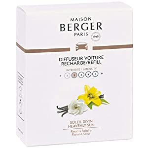 Set of 2 Car Odor Diffuser Refill - Ceramic System - 4/6 Weeks Ceramic Diffusion Time - Lampe Berger Fragrance - Made in France (Heavenly Sun)