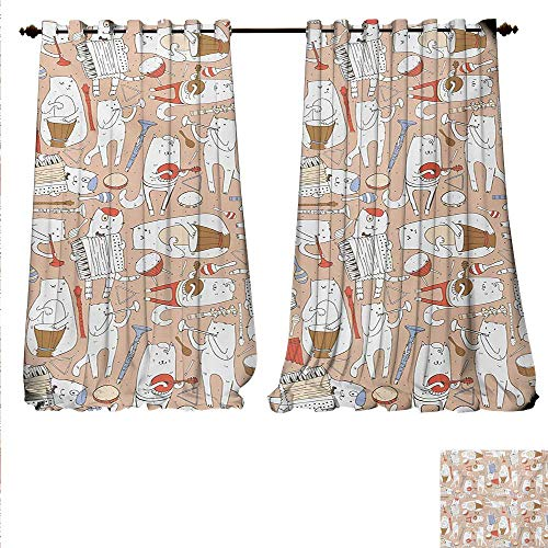 familytaste Patterned Drape for Glass Door Cartoon Musician Cute Cats with Drum Accordion Tube Guitar Music Theme Pattern Window Curtain Fabric W72 x L96 Warm Taupe White.jpg