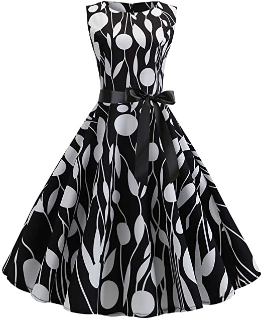 Women Vintage 1950s Retro Sleeveless O Neck Print Evening Party Prom Swing Dress