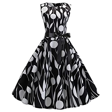 121511da22ad TIFENNY Women Vintage Dresses 1950s Retro Sleeveless O Neck Print Evening  Party Prom Swing Dress with