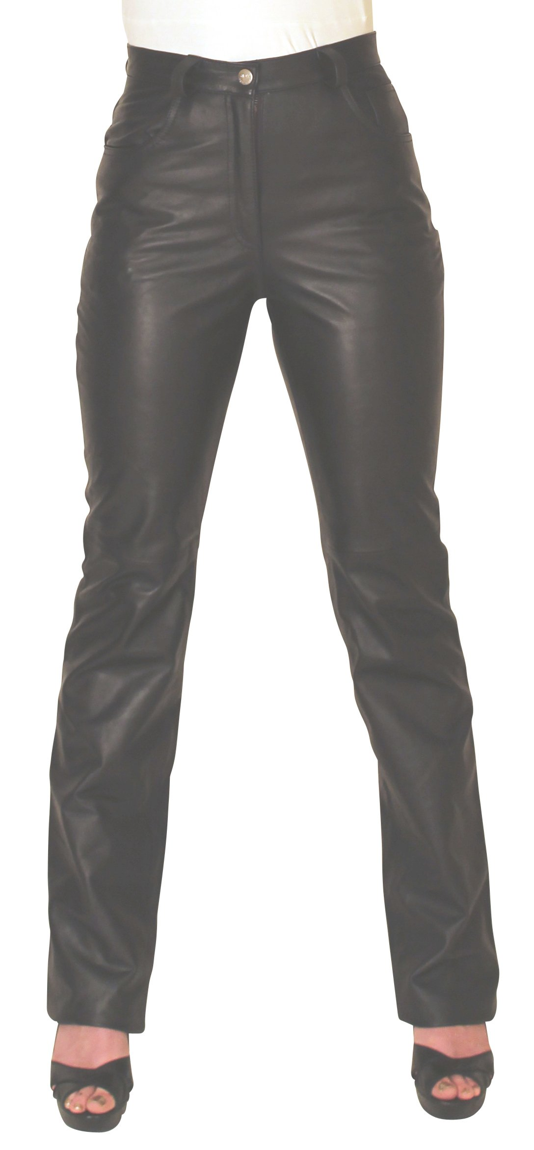 NDK New York Women's Lambskin Leather Pants Sexy Style Without Pockets by NDK New York