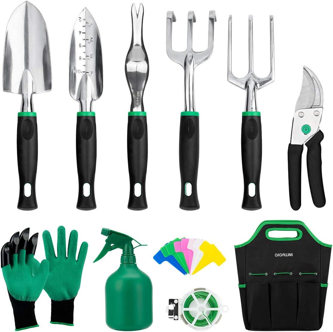Garden Tool Set 3 Pcs Cast-Aluminum Heavy Duty Gardening Kit Non-Slip Ergonomic