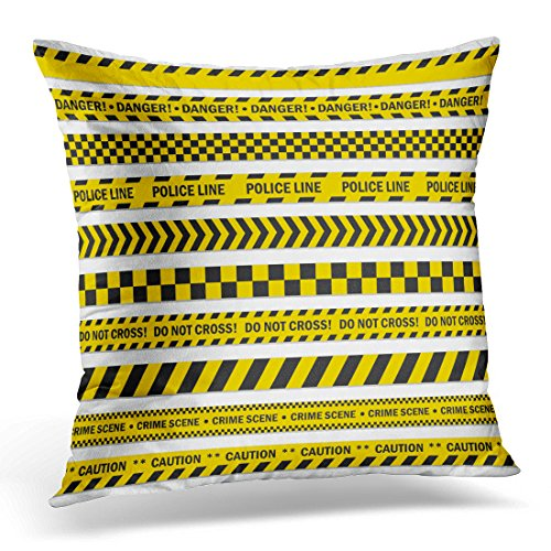 Golee Throw Pillow Cover Black and Yellow Stripes Barricade Tape Do Not Cross Police Crime Danger Line Bright Official Scene Decorative Pillow Case Home Decor Square 16x16 Inches (Construction Zone Throw Pillow)
