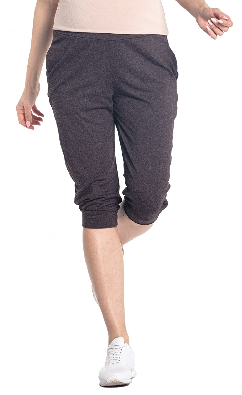 582p HAPPY MAMA Womens Maternity Crop Pants Elastic Contrast Belly Waistband