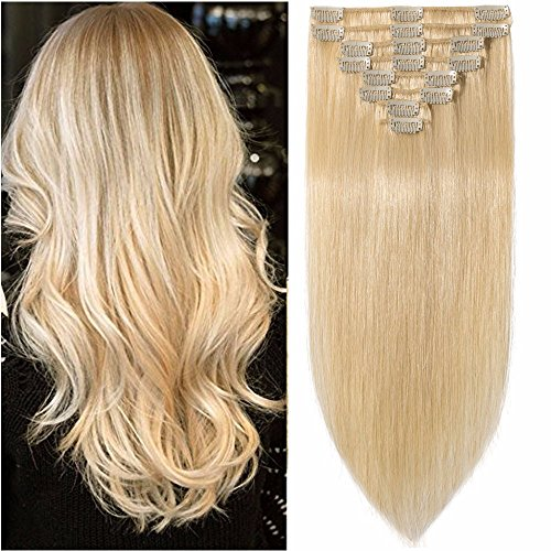 Standard Weft 18 Inch 100g Clip in 100% Real Remy Human Hair Extensions 8 Pieces 18 Clips #613 Bleach Blonde