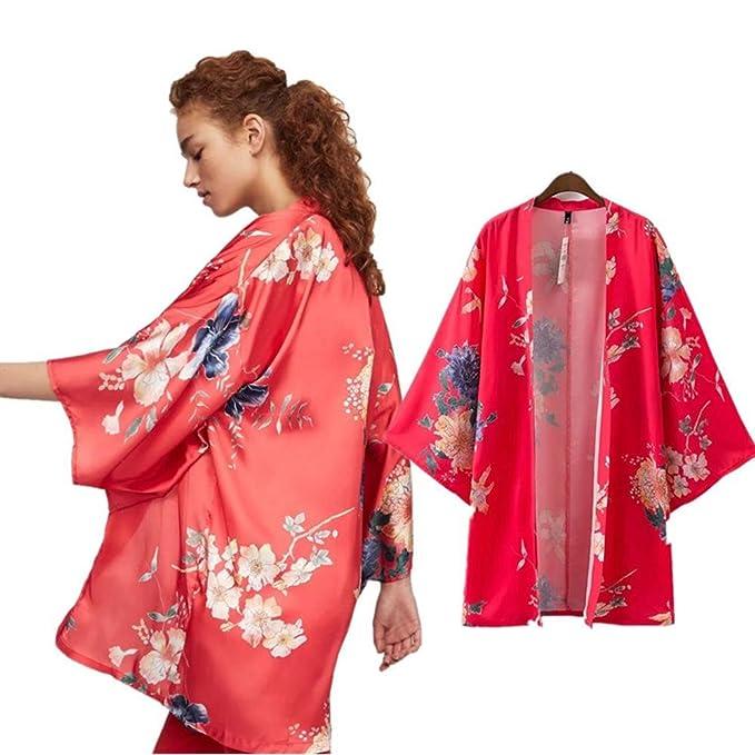 2017 Summer Ladies Clothing Moda Flores Rojas Impreso Kimono Cardigan