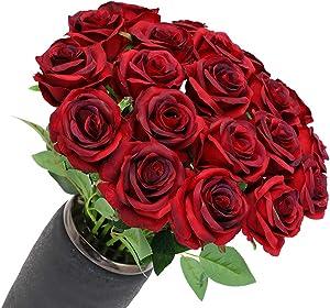Anni Garden 12 PCS Artificial Flowers Roses Silk Flowers Fake Long Stem Artificial Roses for Home Wedding Decorations (Gradient Burgundy)