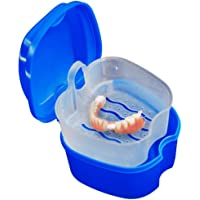 Denture Bath Box Case Dental False Teeth Storage Box with Hanging Net Container - Bescita