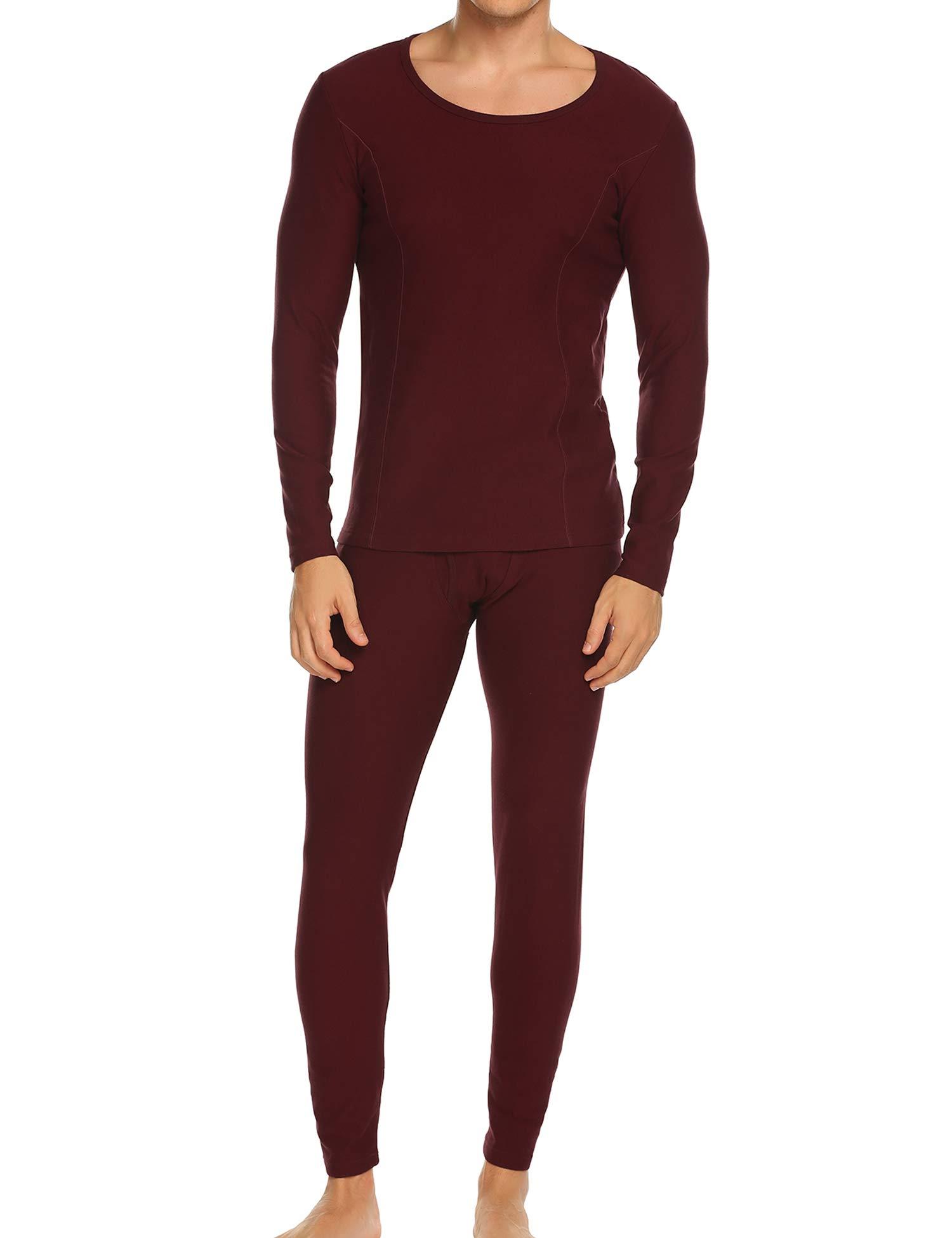 Ekouaer Warm Pajama Set Plus Size Men's Thermal