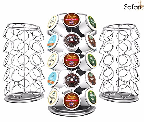 NEW K Cup Holder Keurig Coffee Pod Carousel Chrome Plated Countertop Storage Display (Egg Pod Cheap Chair)