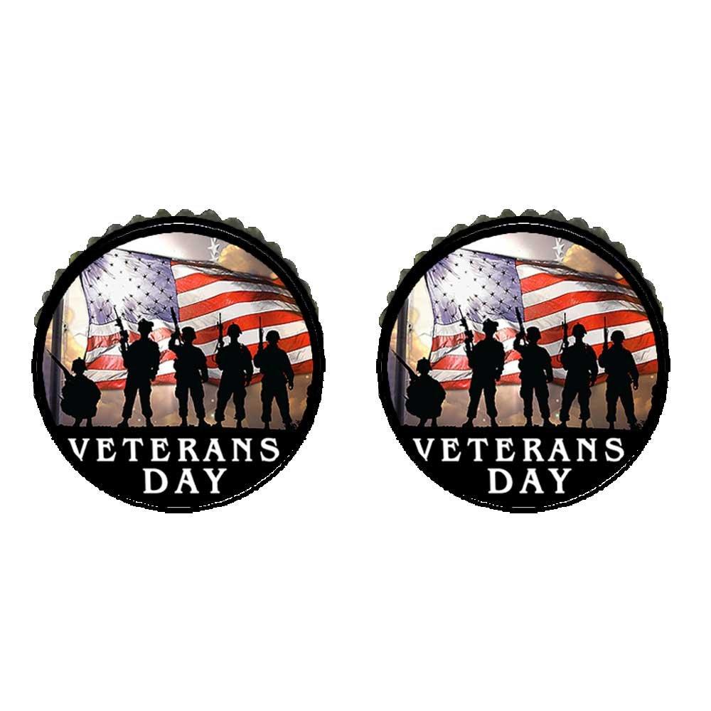 GiftJewelryShop Bronze Retro Style Veterans Day patriotic US soldier flag Photo Stud Earrings #10