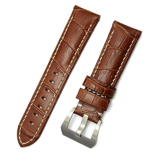 Sunonip Accesorios para Reloj Moda para Hombre Banda De Reloj De Cuero Marrón 22 Mm 24