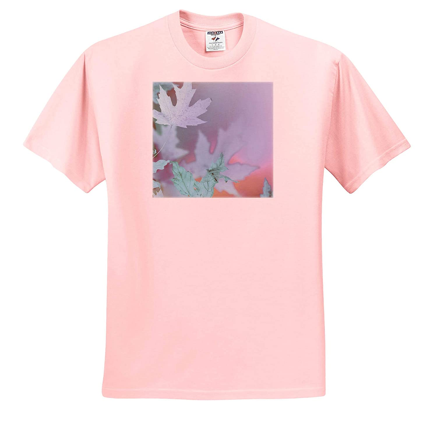 Nature 3dRose Stamp City - T-Shirts an Abstract Photograph of Maple Leaves in Calming Pastel Colors