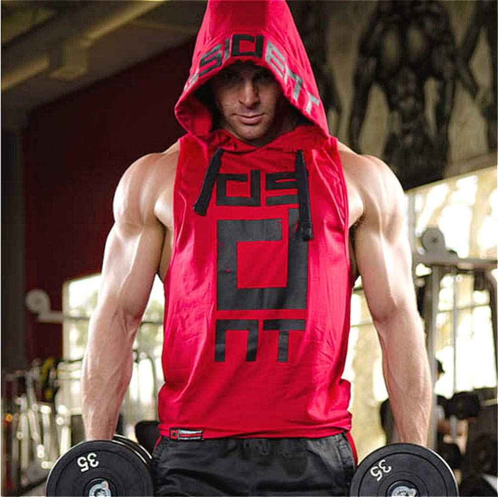 COWBI Camiseta Tirantes Hombre Gym Culturismo Fitness sin Mangas con Capucha