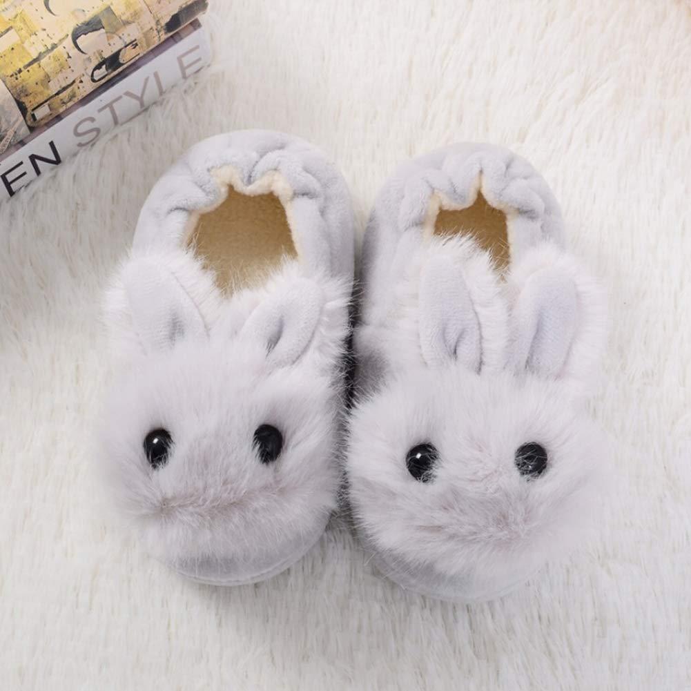 Toddler Boys Girls Rabbit Bootie Slippers Soft Plush Warm Cartoon Bunny Non-Slip Winter House Shoes