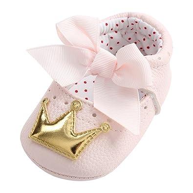 712a038d75b1c Minuya Chaussures Bébé Fille, Princess Couronne Décorée Semelle Souple  Chaussures Premiers Pas Bebe Fille Nourrisson