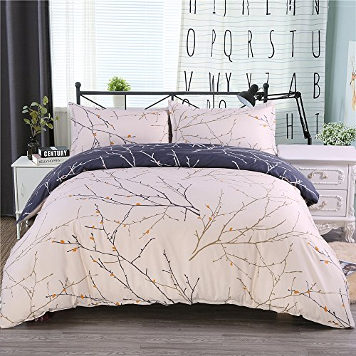 Desirable Life Reversible Microfiber Bedding Duvet Cover Sets for Queen Bed with Zipper Closure Corner Ties Tree Branch Pattern Ultra Soft and Breathable, 3 Piece (1 Duvet Cover + 2 Pillowcases)