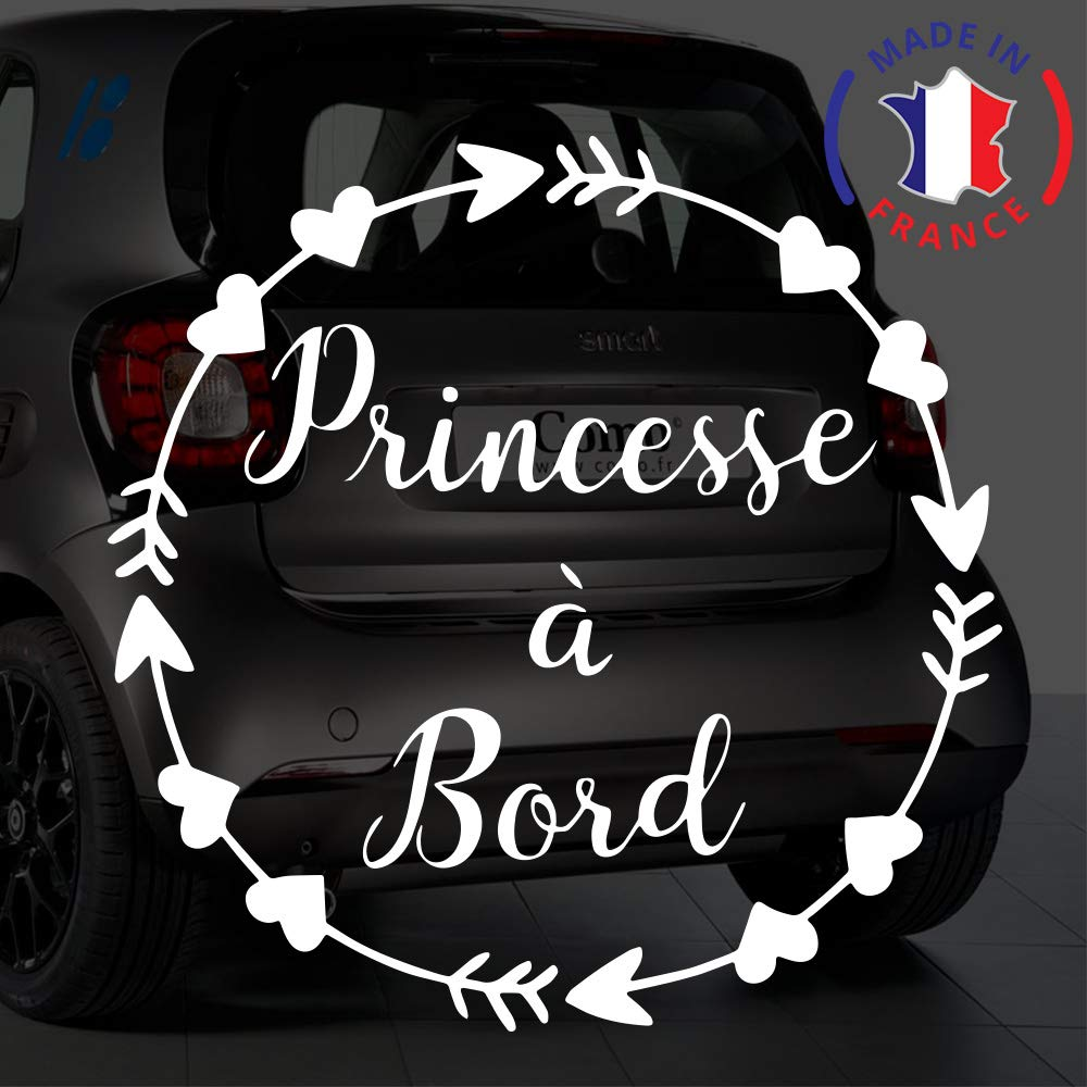 Sticker b/éb/é /à bord pour voiture Princesse /à Bord Fl/èches et Coeurs 15 cm Blanc Anakiss