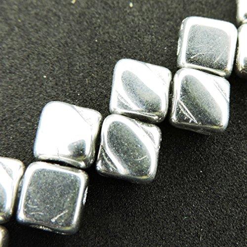 Czech Silky Beads Glass 2-hole Diamond-shape Tile Beads 6mm - Full Labrador (Silver) (40)