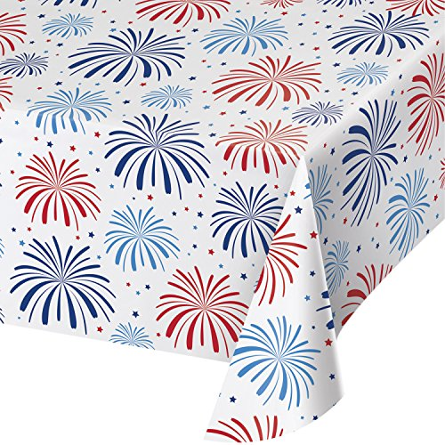 Creative Converting 327220 Patriotic Plastic Tablecloth, Multicolor -