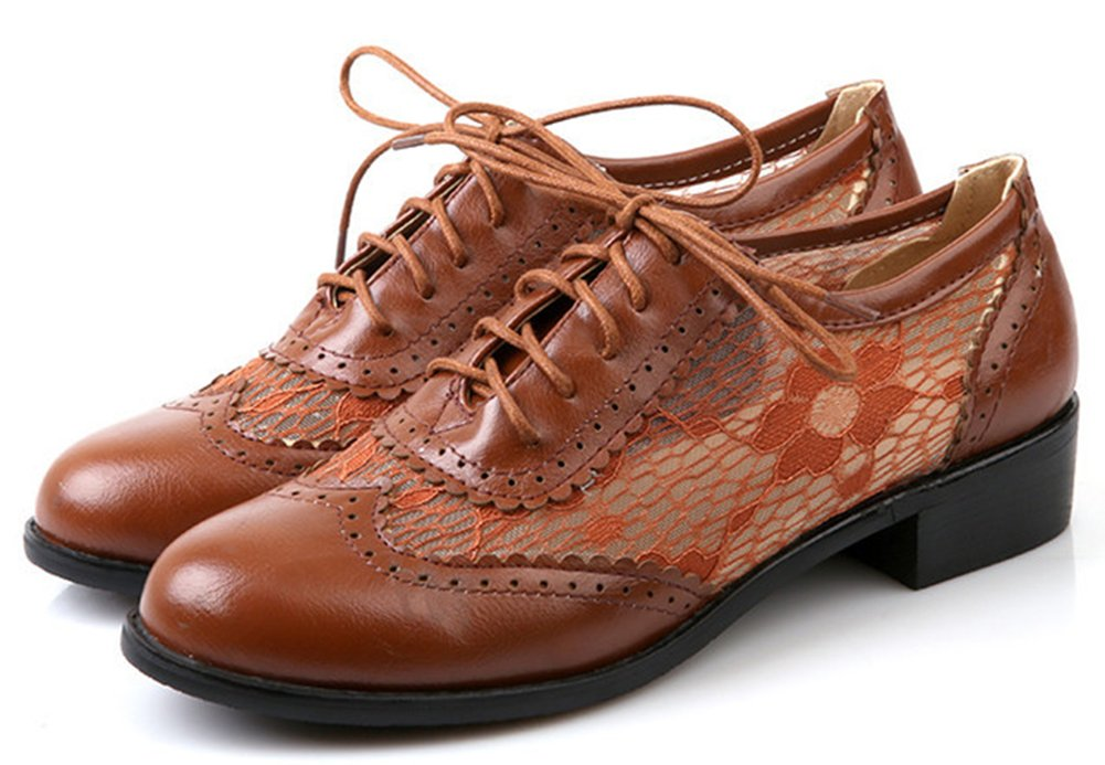 IDIFU Women's Breathable Cut Out Low Chunky Heels Low Top Lace up Oxfords Shoes Brown 8.5 B(M) US