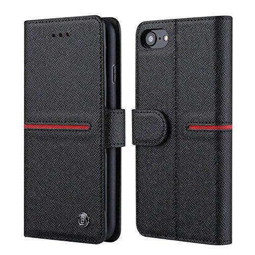 Funda iPhone 7 Plus con monedero - Bidafun Funda con tapa en cuero genuino Bidafun para iPhone 7 Plus con cierre magnético Negro