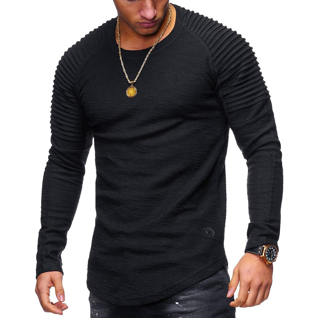 FUNOC Mens Long Sleeve Striped Fold Raglan Sleeves Fitness Muscle Plain T Shirt 1527201151499