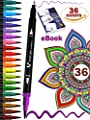 Dual Brush Pens Art Markers Colored Paint Pens Fine Tip Pen Set of 36 Fine Point Bullet Journal Pens for Writing Drawing Adult Coloring Books Planner Sketch Book Dual Fine Tip Marker for Kids Adults