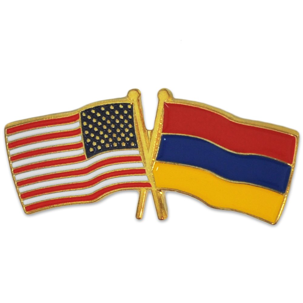 PinMart's USA and Armenia Crossed Friendship Flag Enamel Lapel Pin
