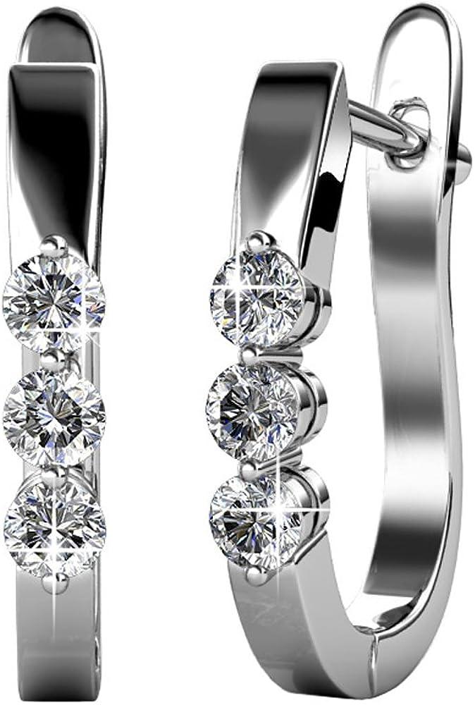 YOURDORA Mujer Cristales de Swarovski Pendientes Tous Aretes Aro Medio de 20mm Joyas de Moda Regalo