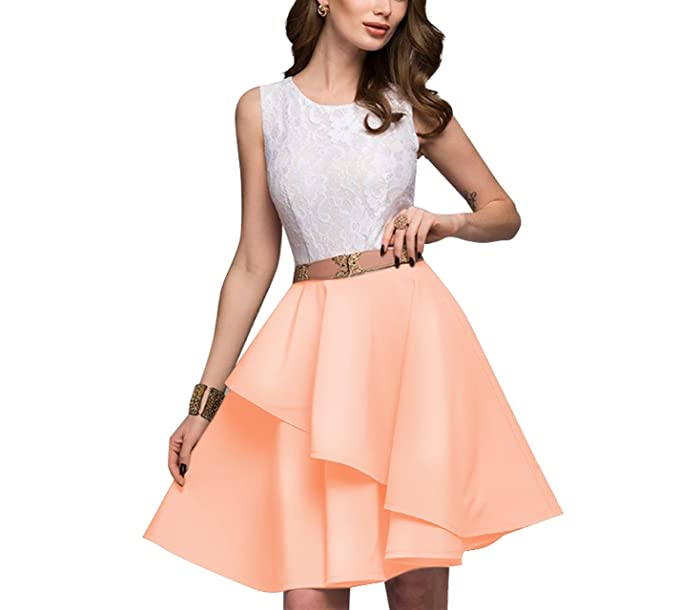 Womens Summer Beach Sleeveless Flare Dresses Mini A-Line Party Dress Vestidos Lace Dress,