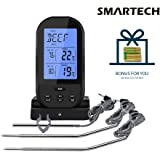 SMARTECH Meat Thermometer - Digital Wireless Remote Barbecue Meat Thermometer with Built-In Timer for Smoker Grill Oven - 3 Instant Read Probes Included