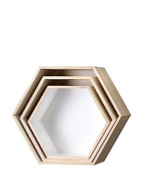 etagere bois hexagonale