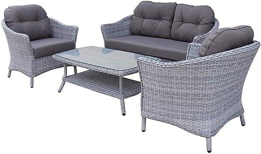 OUTLIV. Muebles de salón para Exterior Coventry Sofá de 4 Piezas Trenzados para jardín Exterior salón jardín terraza balcón: Amazon.es: Jardín