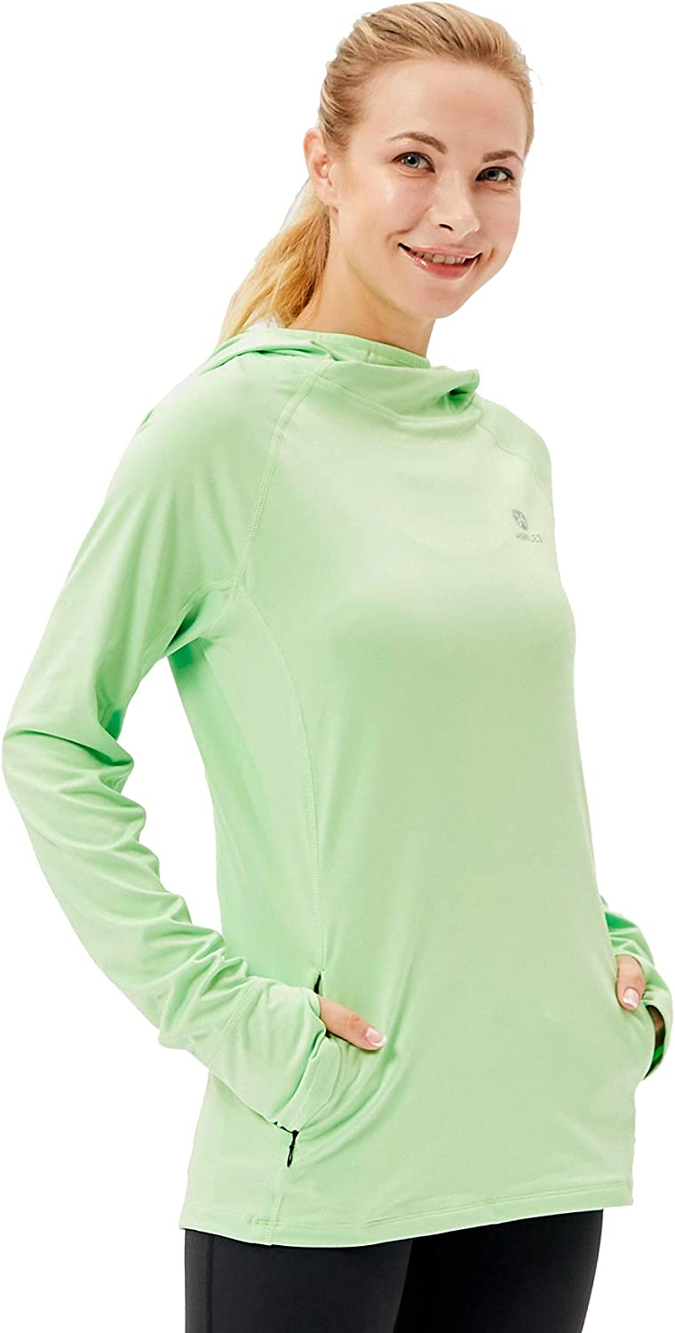Womens Running Hoodie Pullover Workout Gym Activewear Lightweight Training Tops Long Sleeve