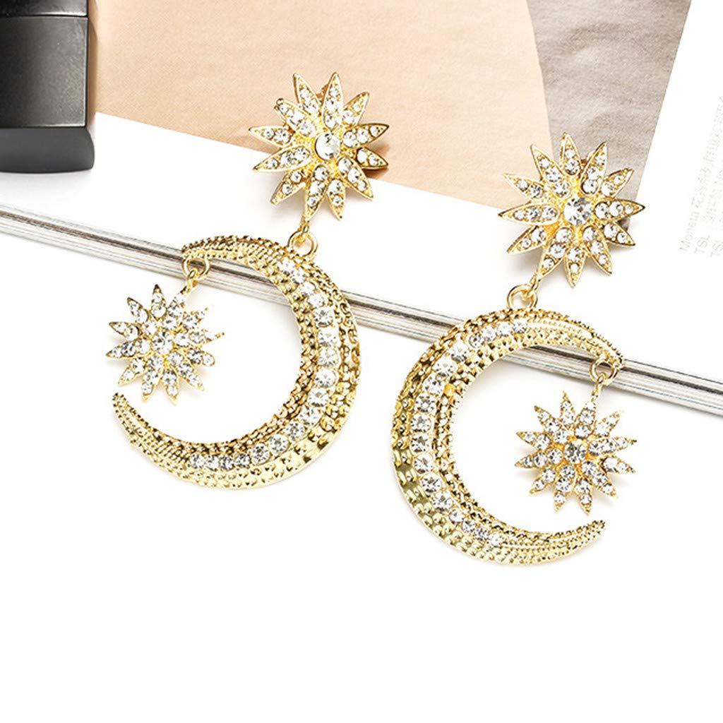 Molyveva Fashion Bohemain style Geometric Star Moon Earrings for Women Girls